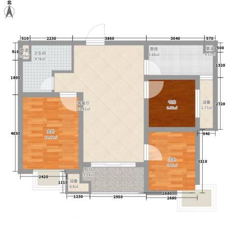 万科高新华府3室1厅1卫1厨93.00㎡户型图