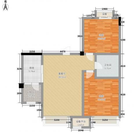 碧桂园欧洲城2室1厅1卫1厨90.00㎡户型图