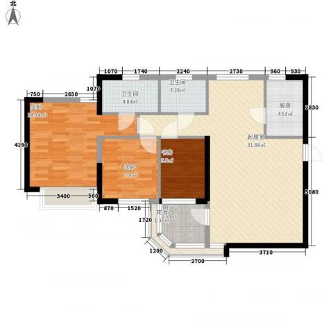 万科金色家园二期3室0厅2卫1厨109.00㎡户型图