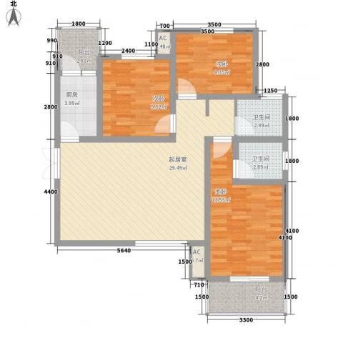 锦尚名城3室0厅2卫1厨111.00㎡户型图