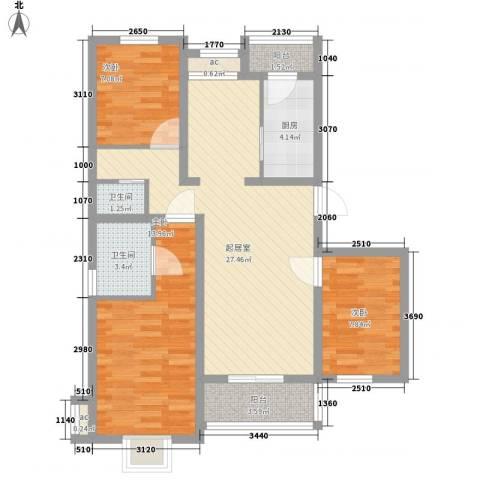 欧典家园3室0厅2卫1厨105.00㎡户型图