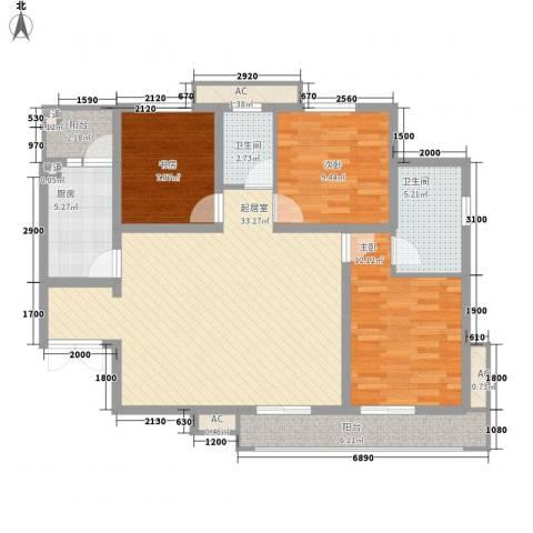 金辉天鹅湾3室0厅2卫1厨126.00㎡户型图