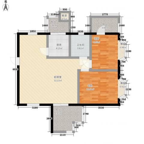 时代华庭2室0厅1卫1厨108.00㎡户型图