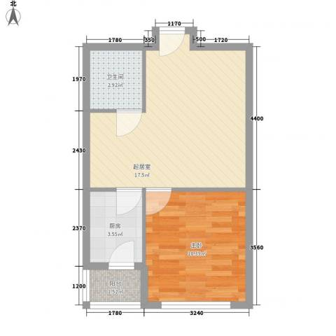 宏伟茗都三期1室0厅1卫1厨54.00㎡户型图