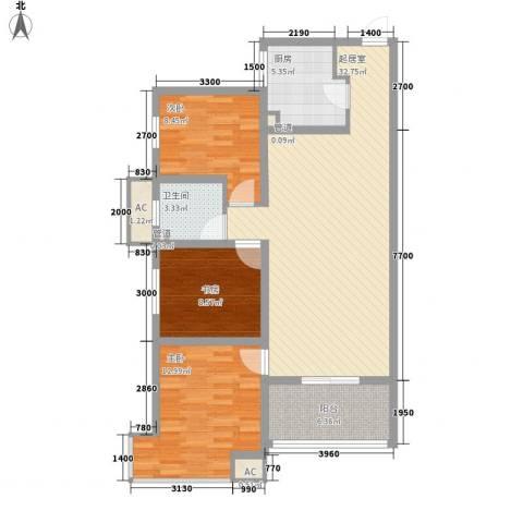 金辉天鹅湾3室0厅1卫1厨88.00㎡户型图