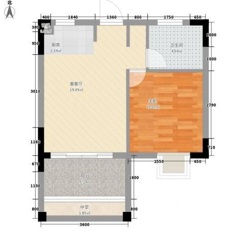 东方蓝城一号1室1厅1卫0厨51.00㎡户型图