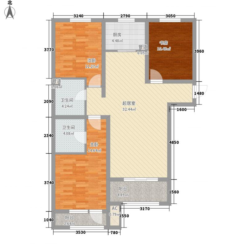新华联雅园户型图C户型  3室2厅2卫1厨
