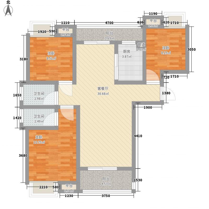 翰林城117.50㎡11层小高层L1户型3室2厅2卫1厨