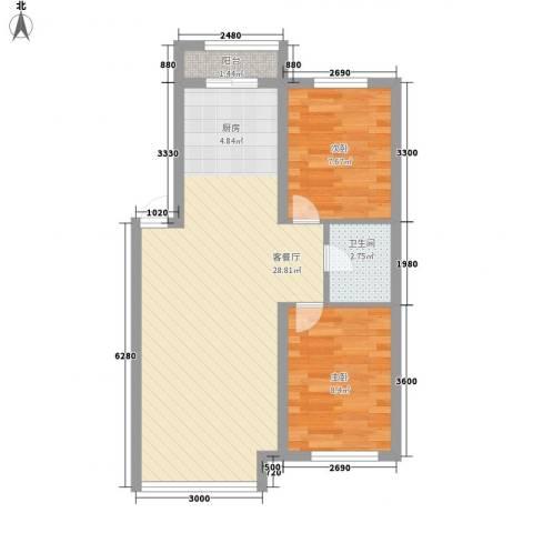 明城嘉苑2室1厅1卫0厨70.00㎡户型图