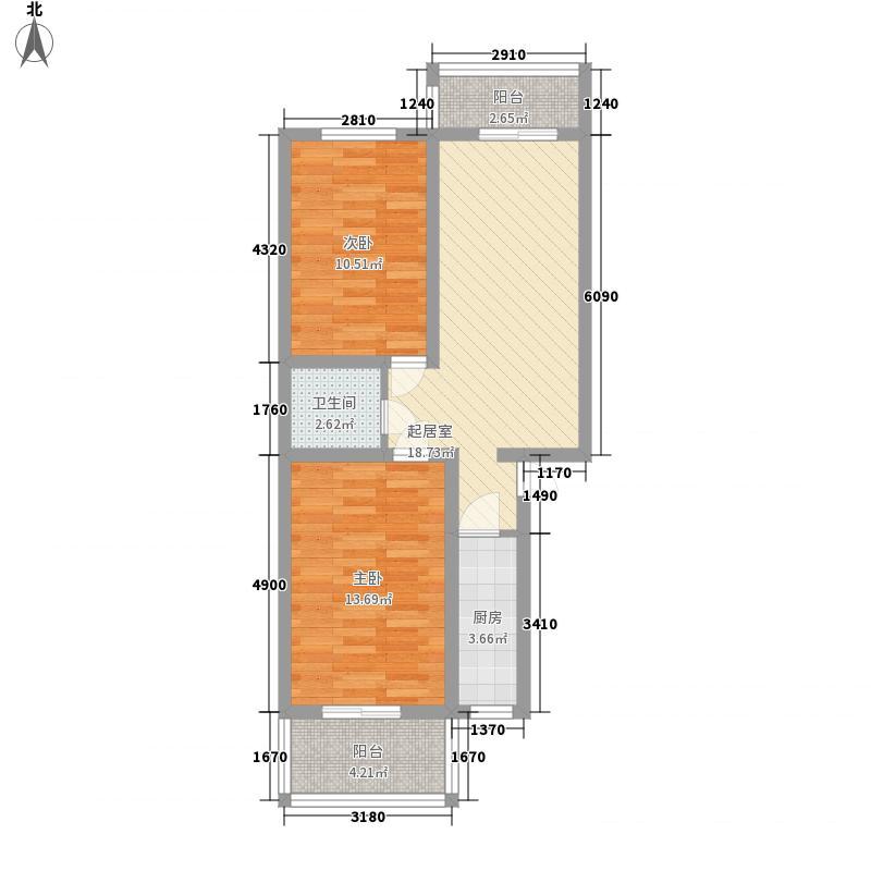 亚威金城83.33㎡安喜门7号楼01户型2室2厅1卫1厨