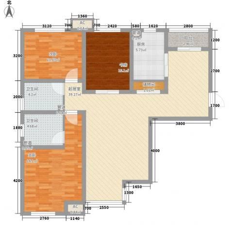 金辉天鹅湾3室0厅2卫1厨106.00㎡户型图