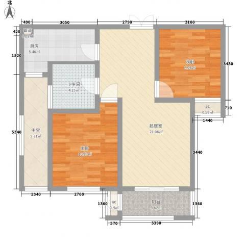 东泰花园泰华苑2室0厅1卫1厨90.00㎡户型图