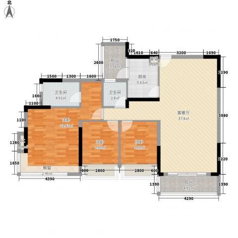 金地格林上院三期3室1厅2卫1厨121.00㎡户型图
