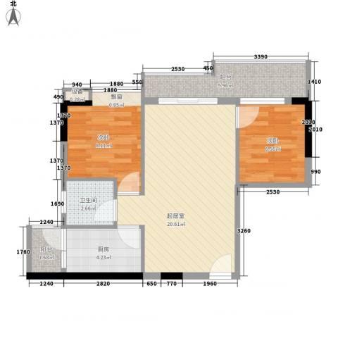 美荔心筑2室0厅1卫1厨72.00㎡户型图