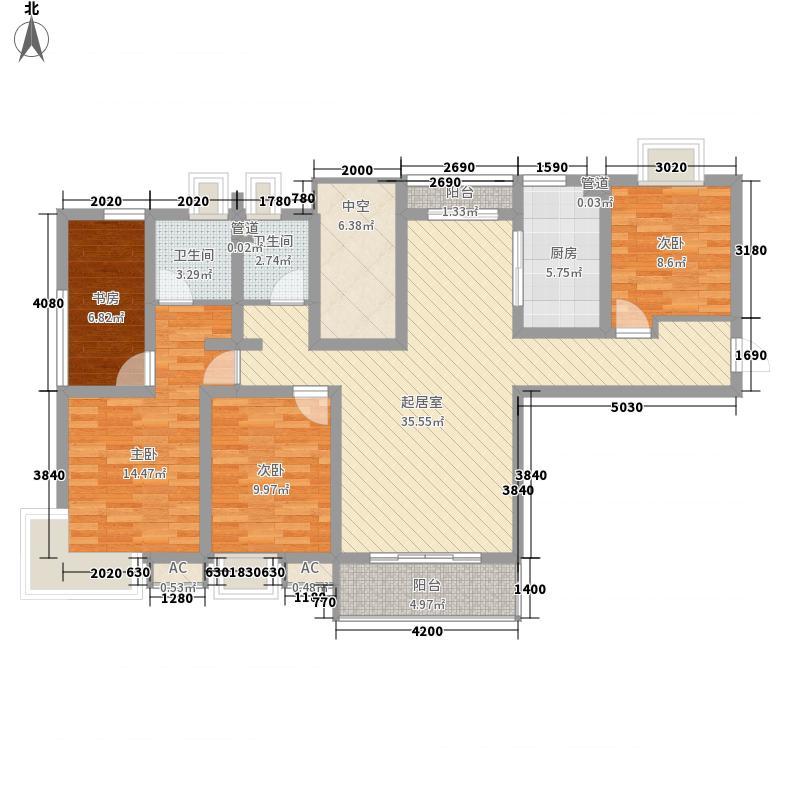 佑林泰极139.00㎡A户型3室2厅2卫1厨