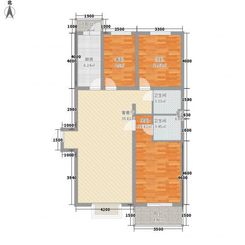 长风新城公元20103室1厅2卫1厨134.00㎡户型图