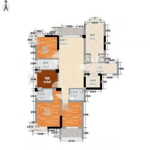 香江世纪名城4室1厅2卫1厨122.00㎡户型图