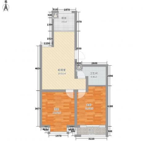 碧海桃园2室0厅1卫1厨79.00㎡户型图
