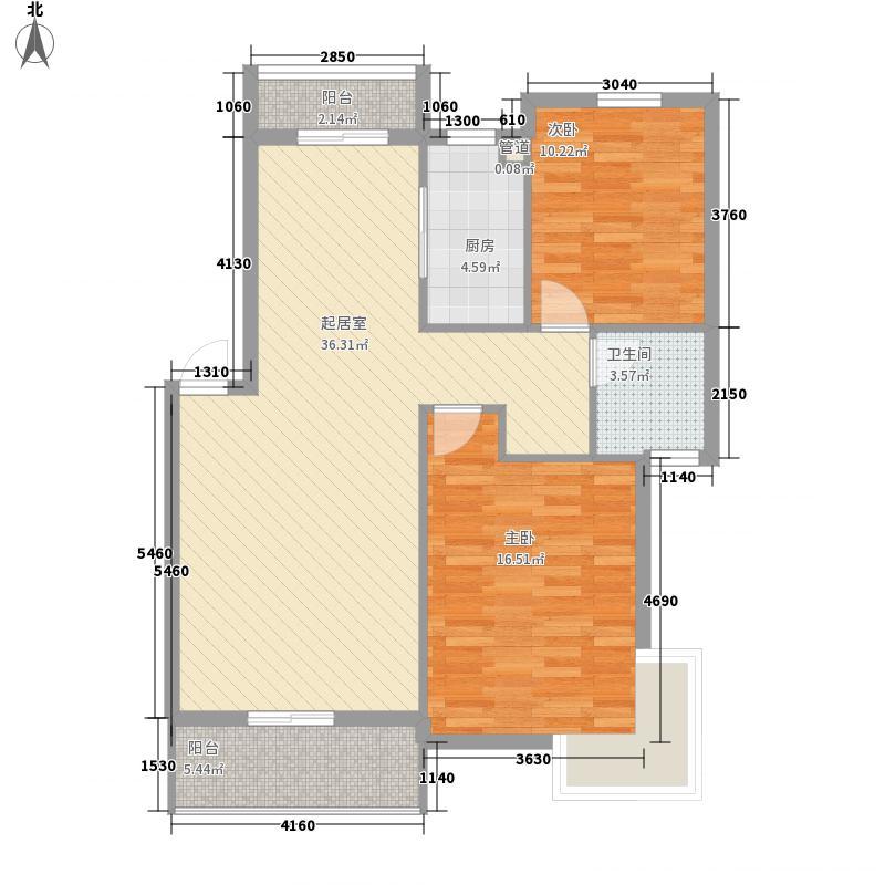 澜桥康城110.00㎡澜桥康城户型图一期1栋标准层A1户型2室2厅1卫1厨户型2室2厅1卫1厨