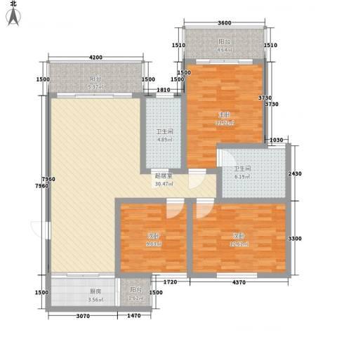 康馨里居3室0厅2卫1厨91.60㎡户型图