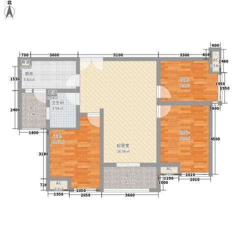 金辉天鹅湾3室0厅1卫1厨102.00㎡户型图