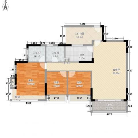 金地格林上院三期3室1厅2卫1厨113.00㎡户型图