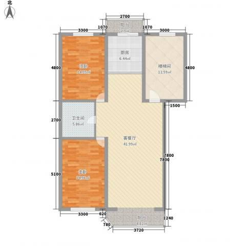 盛天家苑2室1厅1卫1厨112.00㎡户型图