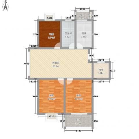 西欧名邸3室1厅1卫1厨119.00㎡户型图