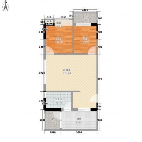 美荔心筑2室0厅1卫1厨74.00㎡户型图