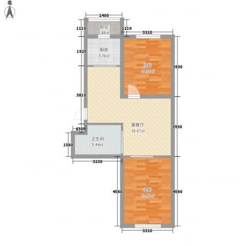 西郡帝景2室1厅1卫1厨72.00㎡户型图