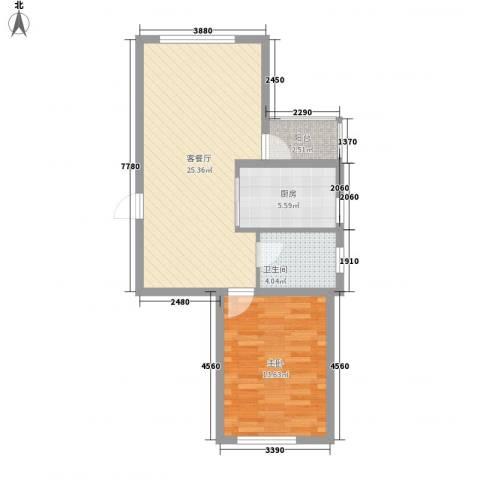 西郡帝景1室1厅1卫1厨66.00㎡户型图