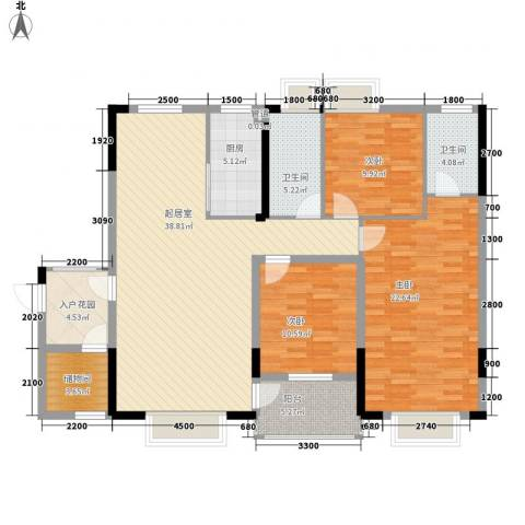 康源绿洲康城3室0厅2卫1厨138.00㎡户型图