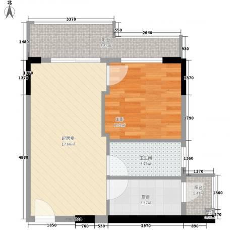 美荔心筑1室0厅1卫1厨60.00㎡户型图