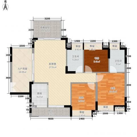 城投・七里香榭3室0厅2卫1厨133.00㎡户型图