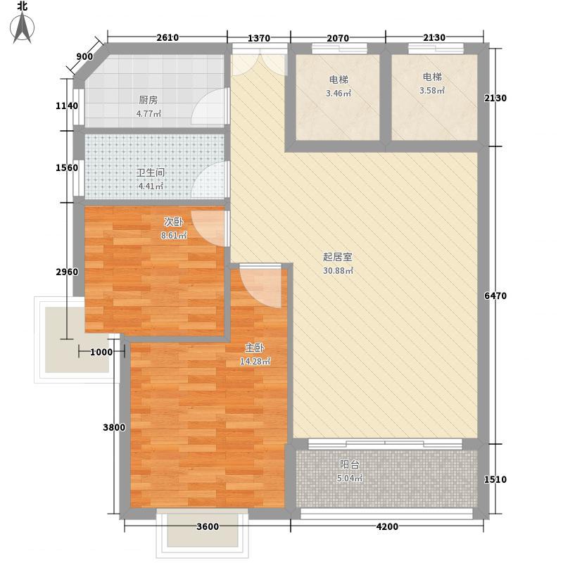 盈嘉国际91.21㎡一期3号楼标准A户型2室2厅1卫1厨