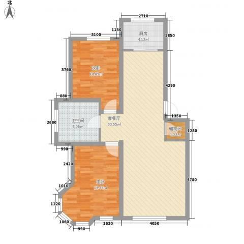 汉森香榭里2室1厅1卫1厨102.00㎡户型图