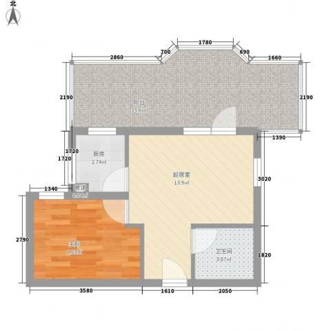 新景家园1室0厅1卫1厨49.42㎡户型图