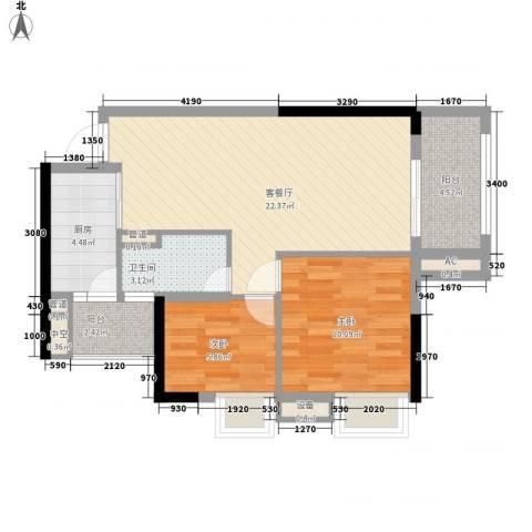 美林海岸花园海星苑2室1厅1卫1厨79.00㎡户型图