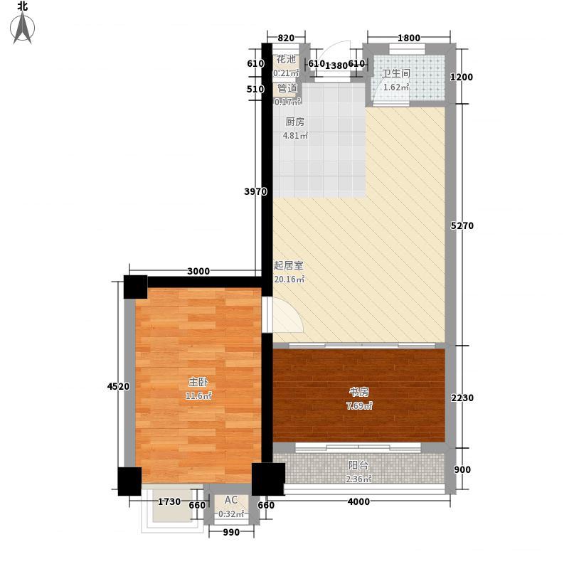 风尚807.28㎡01号房户型2室2厅1卫1厨