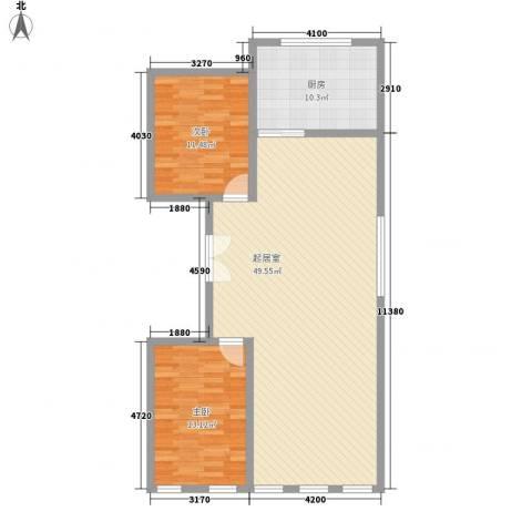 二七铁路宿舍2室0厅0卫1厨117.00㎡户型图