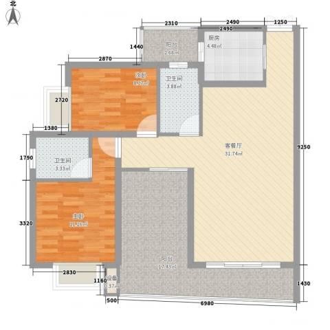 南峰花园2室1厅2卫1厨119.00㎡户型图