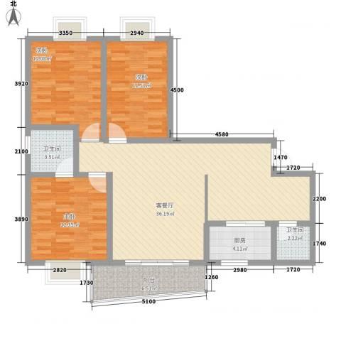 南峰花园3室1厅2卫1厨127.00㎡户型图