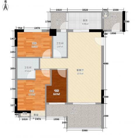 美荔心筑3室1厅2卫1厨114.00㎡户型图