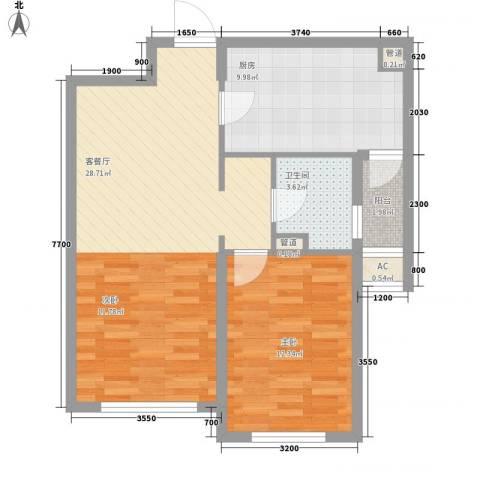 远洋广场1室1厅1卫1厨70.00㎡户型图