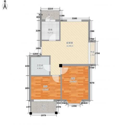 朗悦华园2室0厅1卫1厨82.00㎡户型图