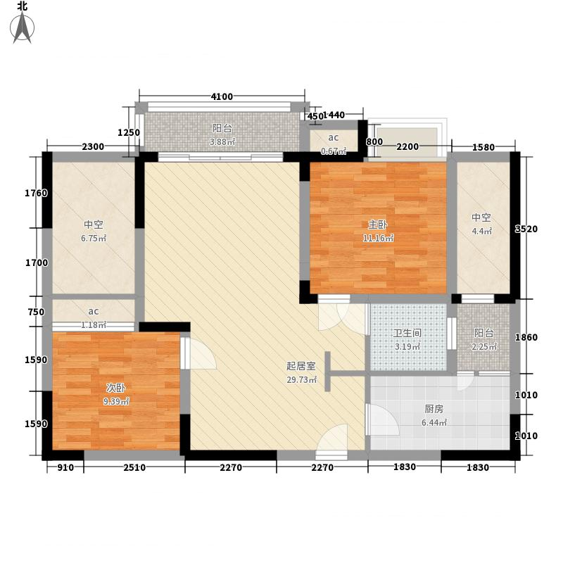 森柯香渝园86.38㎡第2栋2、5号户型2室2厅1卫1厨