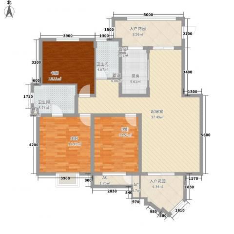 信达尚城3室0厅2卫1厨138.00㎡户型图