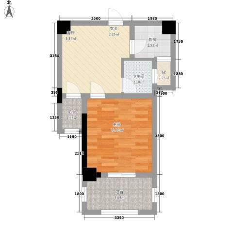 幸福源1室1厅1卫1厨49.00㎡户型图