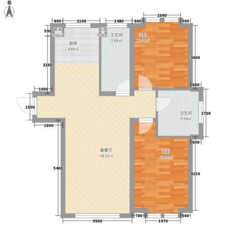 远洋广场2室1厅2卫0厨114.00㎡户型图