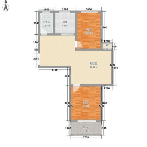 御府园2室0厅1卫1厨74.19㎡户型图